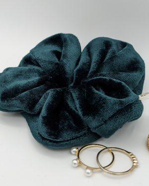 Chouchou velour vert bleu doux